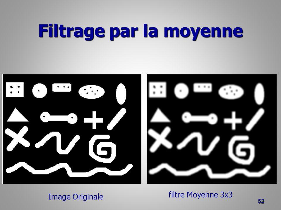 Filtrage par la moyenne 52 Image Originale filtre Moyenne 3x3