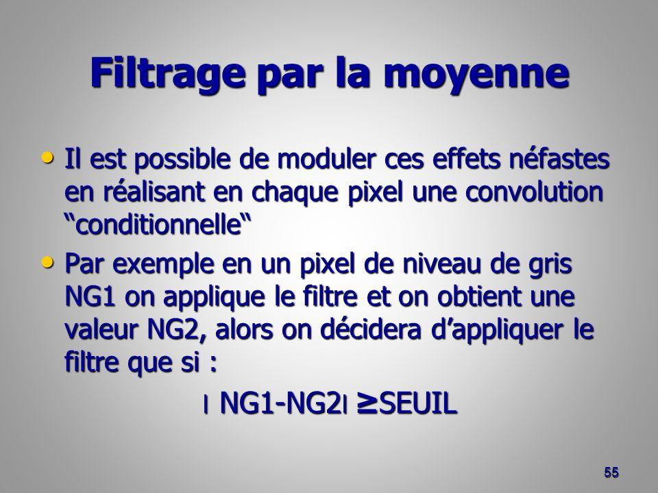 Filtrage par la moyenne Il est possible de moduler ces effets néfastes en réalisant en chaque pixel une convolution conditionnelle Il est possible de