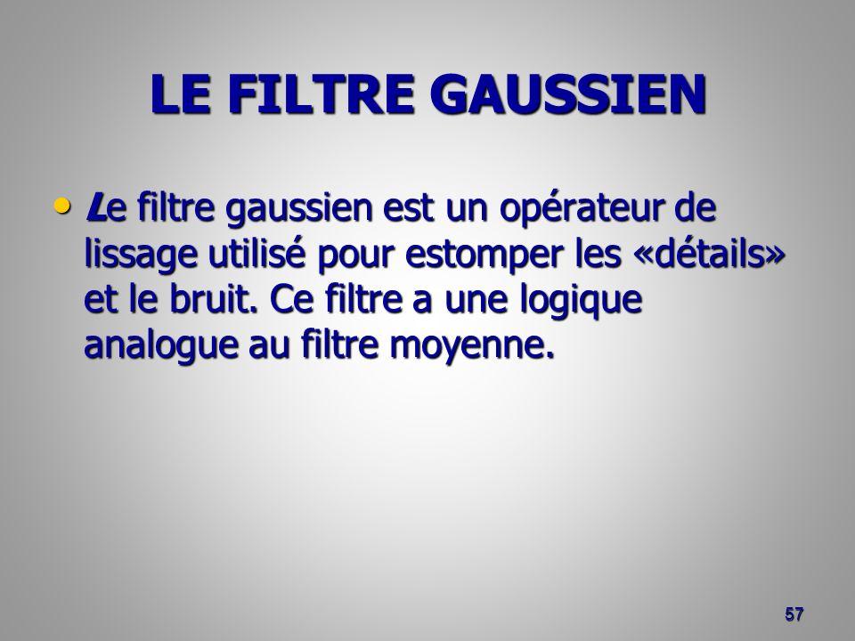LE FILTRE GAUSSIEN Le filtre gaussien est un opérateur de lissage utilisé pour estomper les «détails» et le bruit. Ce filtre a une logique analogue au