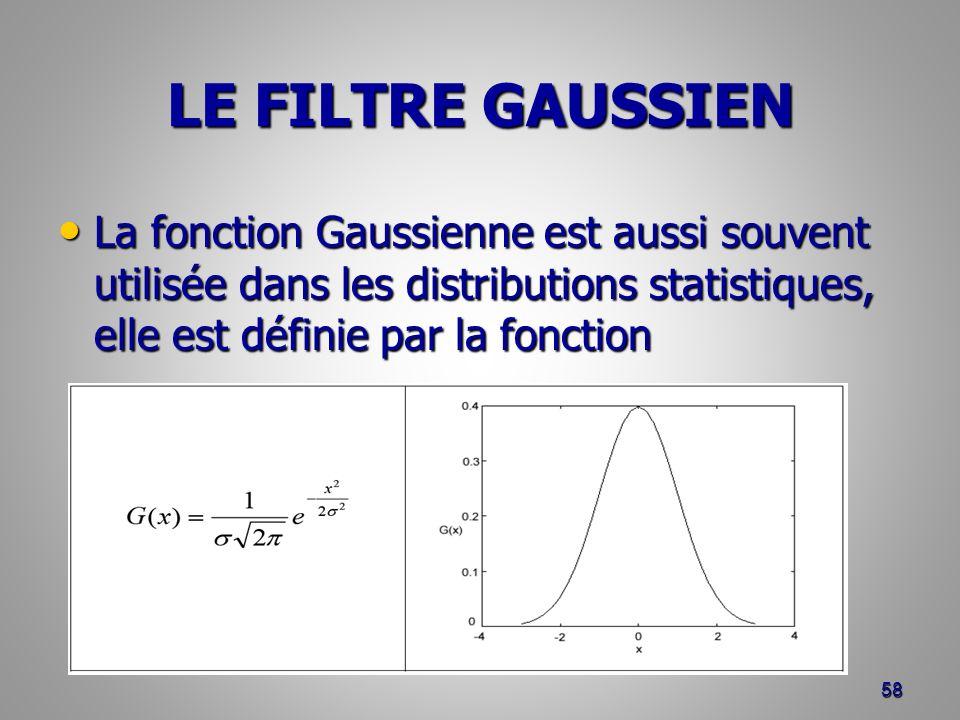 LE FILTRE GAUSSIEN La fonction Gaussienne est aussi souvent utilisée dans les distributions statistiques, elle est définie par la fonction La fonction
