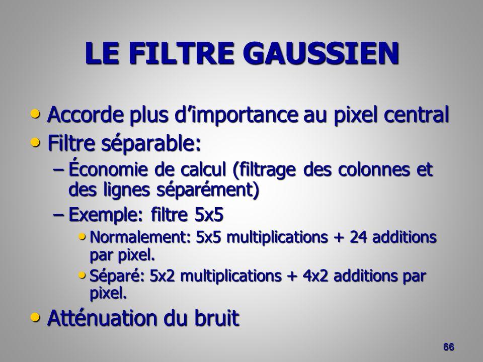 LE FILTRE GAUSSIEN Accorde plus dimportance au pixel central Accorde plus dimportance au pixel central Filtre séparable: Filtre séparable: –Économie d