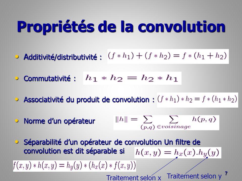 Propriétés de la convolution A dditivité/distributivité : A dditivité/distributivité : Commutativité : Commutativité : Associativité du produit de con