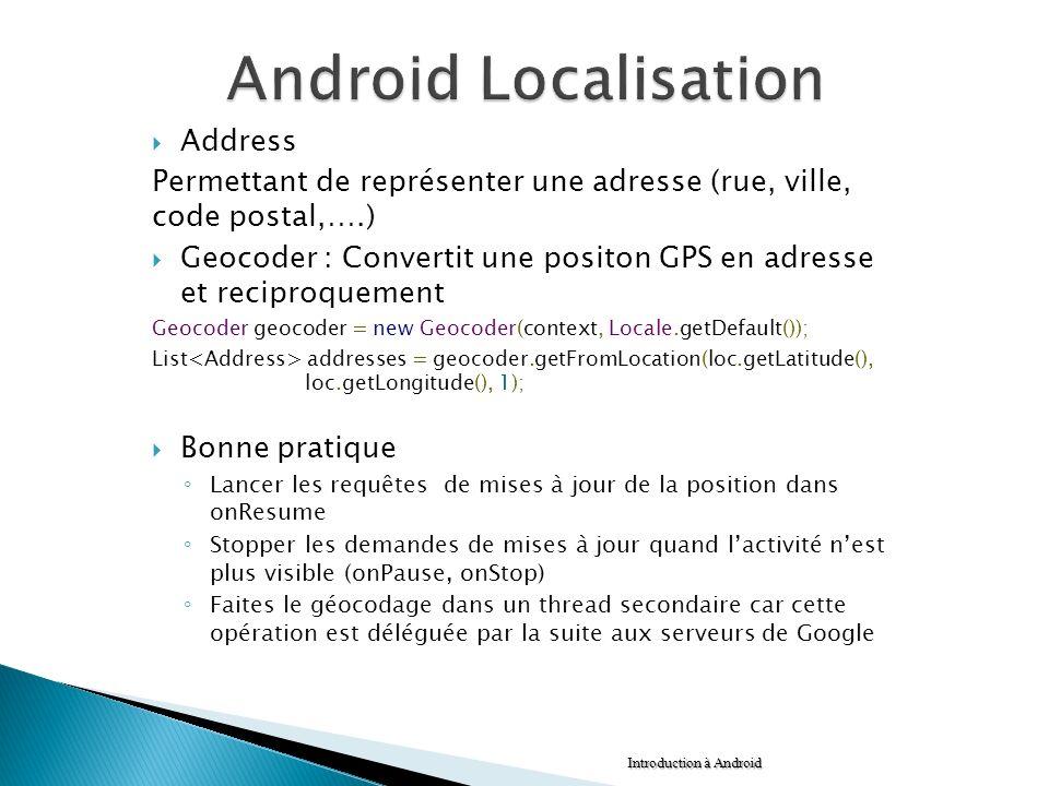 Address Permettant de représenter une adresse (rue, ville, code postal,….) Geocoder : Convertit une positon GPS en adresse et reciproquement Geocoder