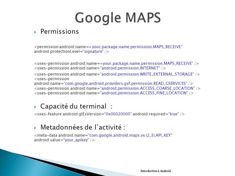 Permissions Capacité du terminal : Metadonnées de lactivité : Introduction à Android