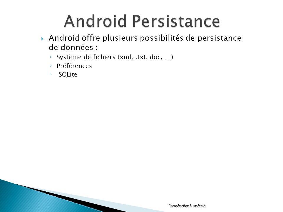 Android offre plusieurs possibilités de persistance de données : Système de fichiers (xml,.txt, doc, …) Préférences SQLite Introduction à Android