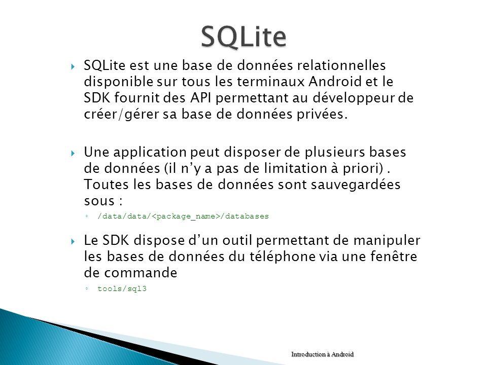 SQLite est une base de données relationnelles disponible sur tous les terminaux Android et le SDK fournit des API permettant au développeur de créer/g