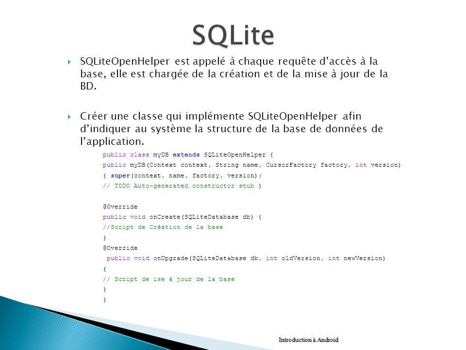 SQLiteOpenHelper est appelé à chaque requête daccès à la base, elle est chargée de la création et de la mise à jour de la BD. Créer une classe qui imp