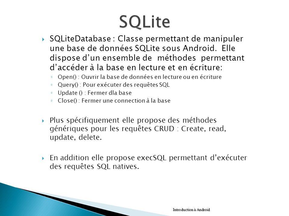 SQLiteDatabase : Classe permettant de manipuler une base de données SQLite sous Android. Elle dispose dun ensemble de méthodes permettant daccéder à l