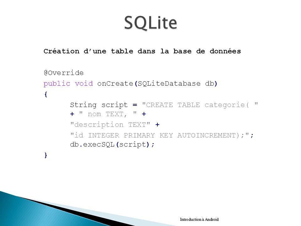 Création dune table dans la base de données @Override public void onCreate(SQLiteDatabase db) { String script =