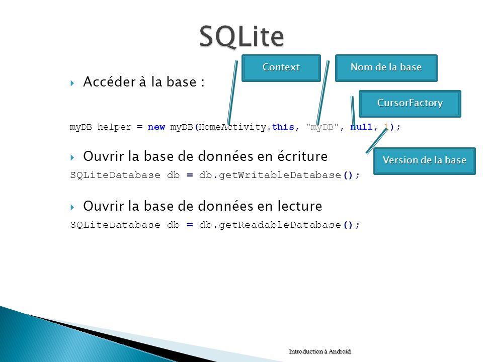 Accéder à la base : myDB helper = new myDB(HomeActivity.this,