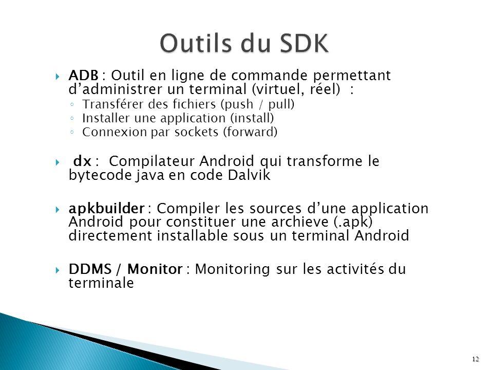 ADB : Outil en ligne de commande permettant dadministrer un terminal (virtuel, réel) : Transférer des fichiers (push / pull) Installer une application