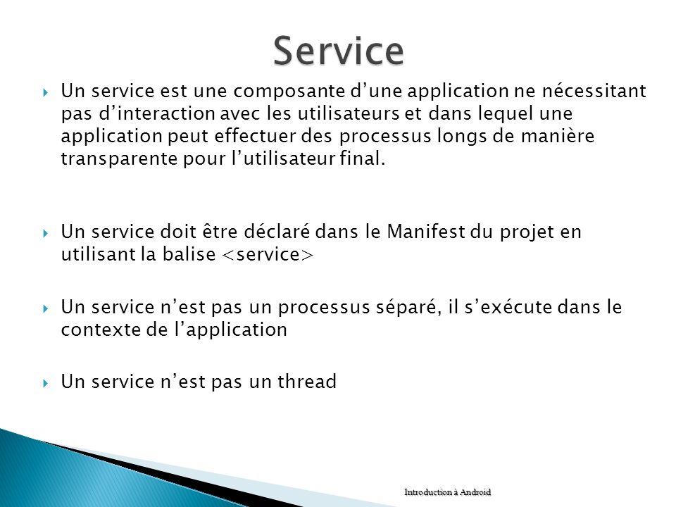 Un service est une composante dune application ne nécessitant pas dinteraction avec les utilisateurs et dans lequel une application peut effectuer des