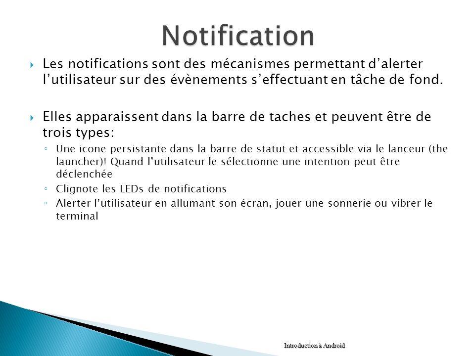 Les notifications sont des mécanismes permettant dalerter lutilisateur sur des évènements seffectuant en tâche de fond. Elles apparaissent dans la bar