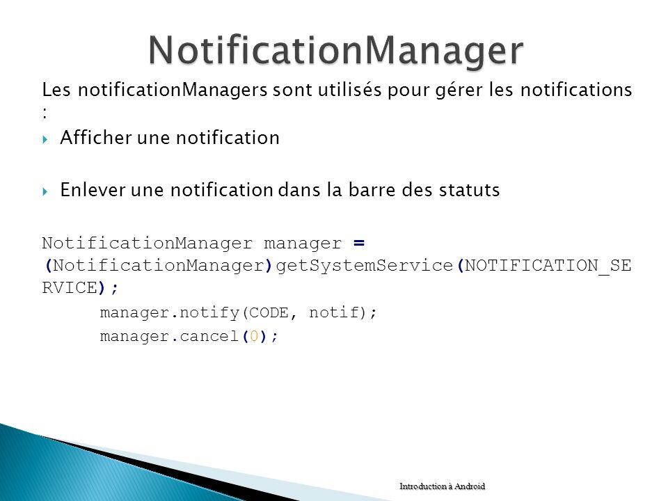 Les notificationManagers sont utilisés pour gérer les notifications : Afficher une notification Enlever une notification dans la barre des statuts Not