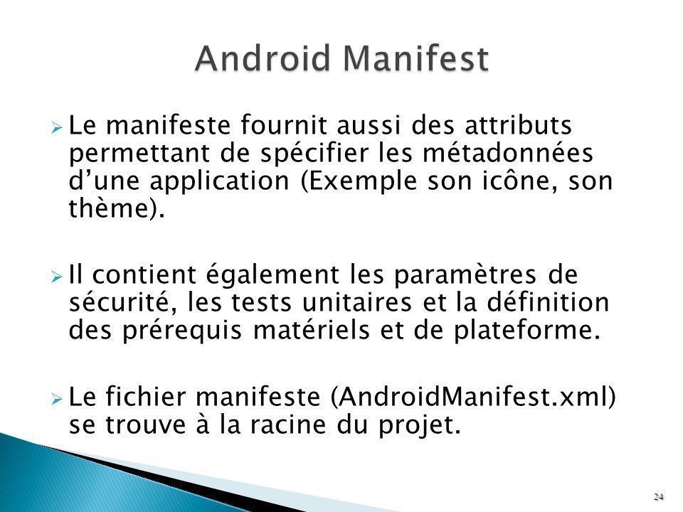 Le manifeste fournit aussi des attributs permettant de spécifier les métadonnées dune application (Exemple son icône, son thème). Il contient égalemen