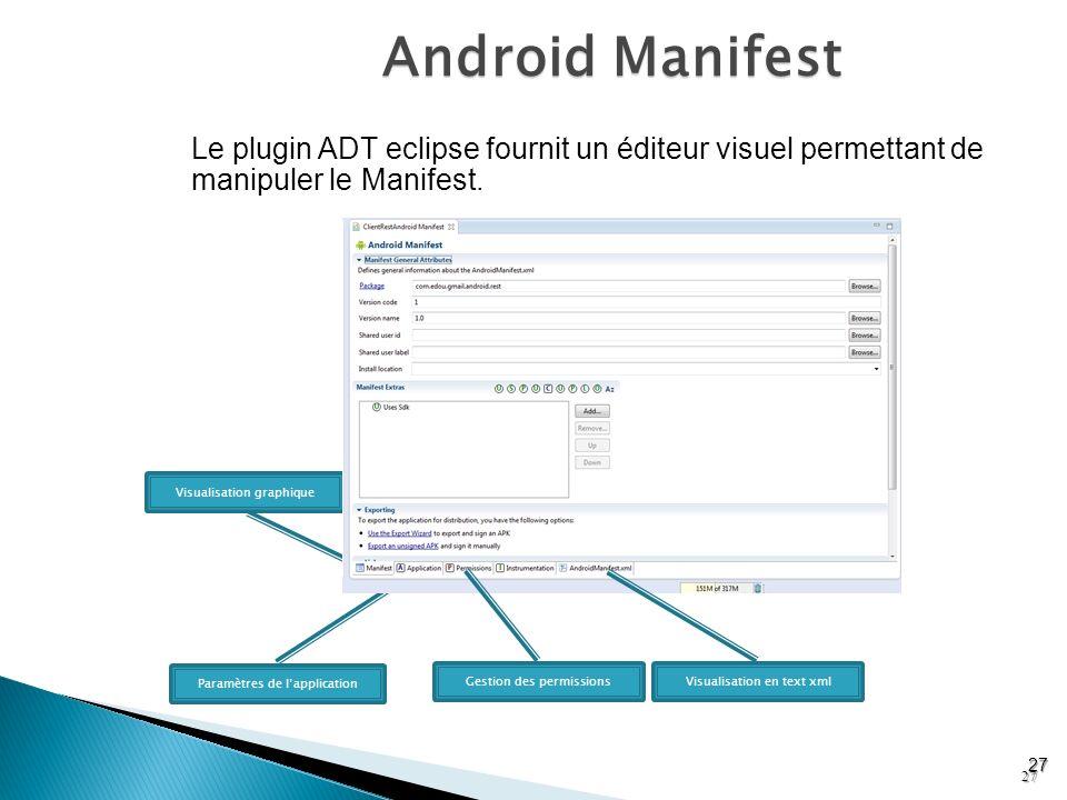 Android Manifest 27 Le plugin ADT eclipse fournit un éditeur visuel permettant de manipuler le Manifest. Visualisation graphique Paramètres de lapplic