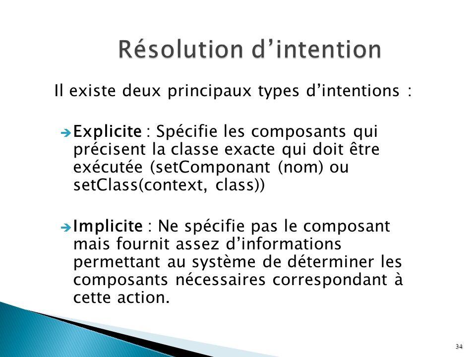 Il existe deux principaux types dintentions : Explicite : Spécifie les composants qui précisent la classe exacte qui doit être exécutée (setComponant