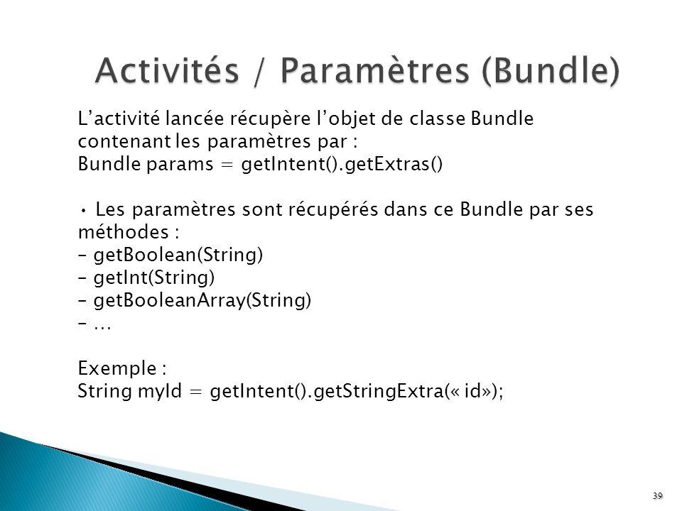 Lactivité lancée récupère lobjet de classe Bundle contenant les paramètres par : Bundle params = getIntent().getExtras() Les paramètres sont récupérés
