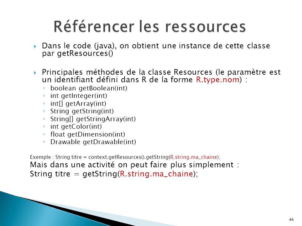 Dans le code (java), on obtient une instance de cette classe par getResources() Principales méthodes de la classe Resources (le paramètre est un ident