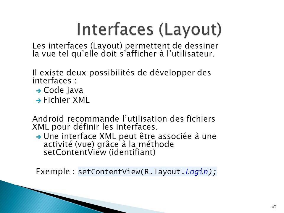 Les interfaces (Layout) permettent de dessiner la vue tel quelle doit safficher à lutilisateur. Il existe deux possibilités de développer des interfac