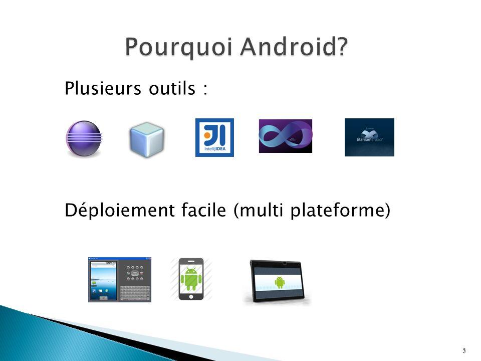 Peut être utilisée comme sous vue dun gabarit <RelativeLayout xmlns:android= http://schemas.android.com/apk/res/android xmlns:tools= http://schemas.android.com/tools android:id= @+id/id_accueil android:layout_width= match_parent android:layout_height= match_parent > 86 Duplique limportation de lespace de nom android sous la même référence!
