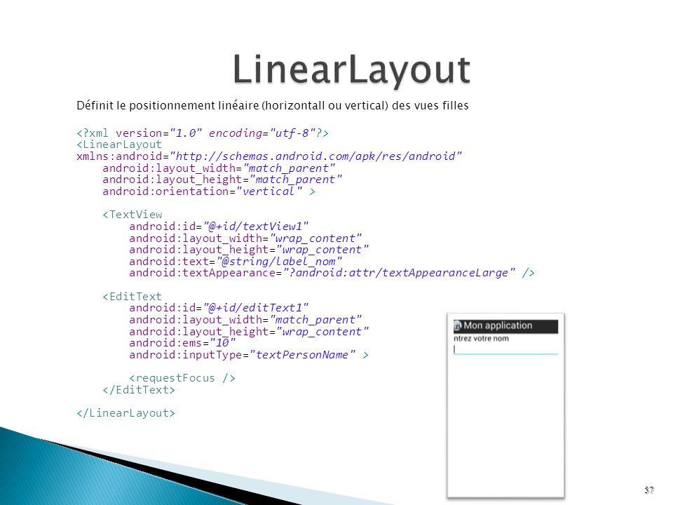 Définit le positionnement linéaire (horizontall ou vertical) des vues filles <LinearLayout xmlns:android=