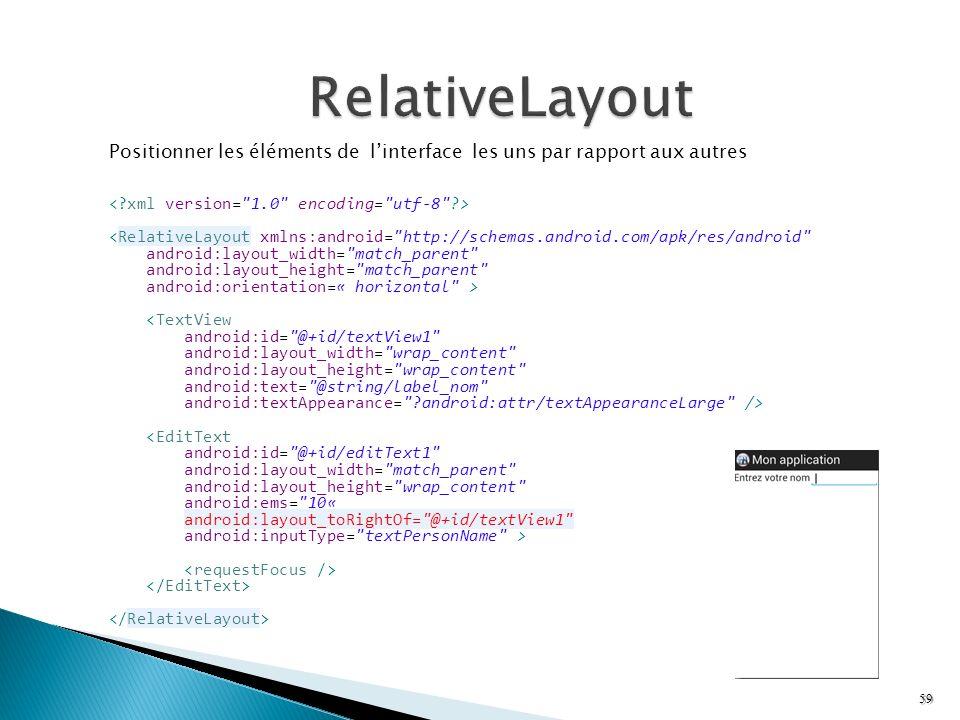 Positionner les éléments de linterface les uns par rapport aux autres <RelativeLayout xmlns:android=