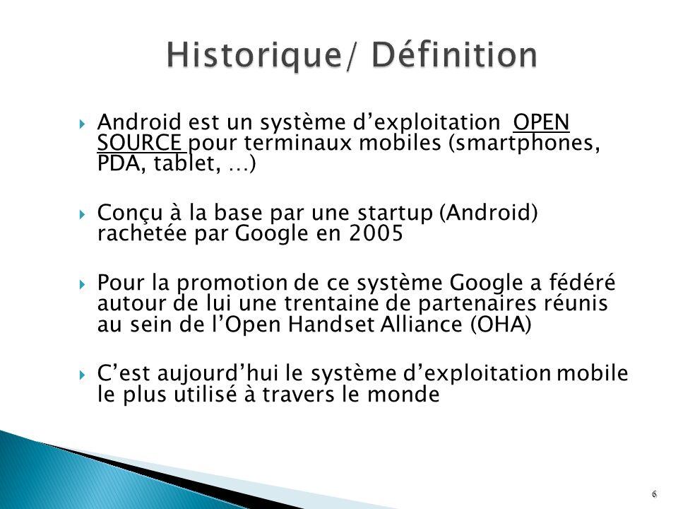 Android est un système dexploitation OPEN SOURCE pour terminaux mobiles (smartphones, PDA, tablet, …) Conçu à la base par une startup (Android) rachet
