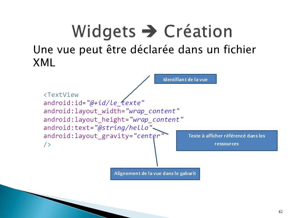 Une vue peut être déclarée dans un fichier XML 62