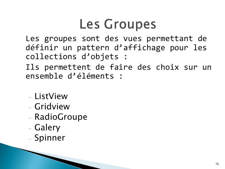 Les groupes sont des vues permettant de définir un pattern daffichage pour les collections dobjets : Ils permettent de faire des choix sur un ensemble