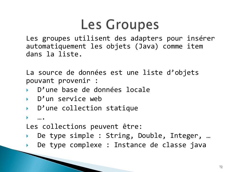 Les groupes utilisent des adapters pour insérer automatiquement les objets (Java) comme item dans la liste. La source de données est une liste dobjets