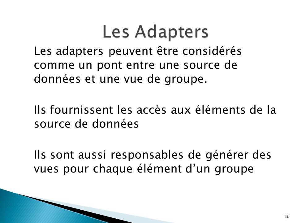 Les adapters peuvent être considérés comme un pont entre une source de données et une vue de groupe. Ils fournissent les accès aux éléments de la sour