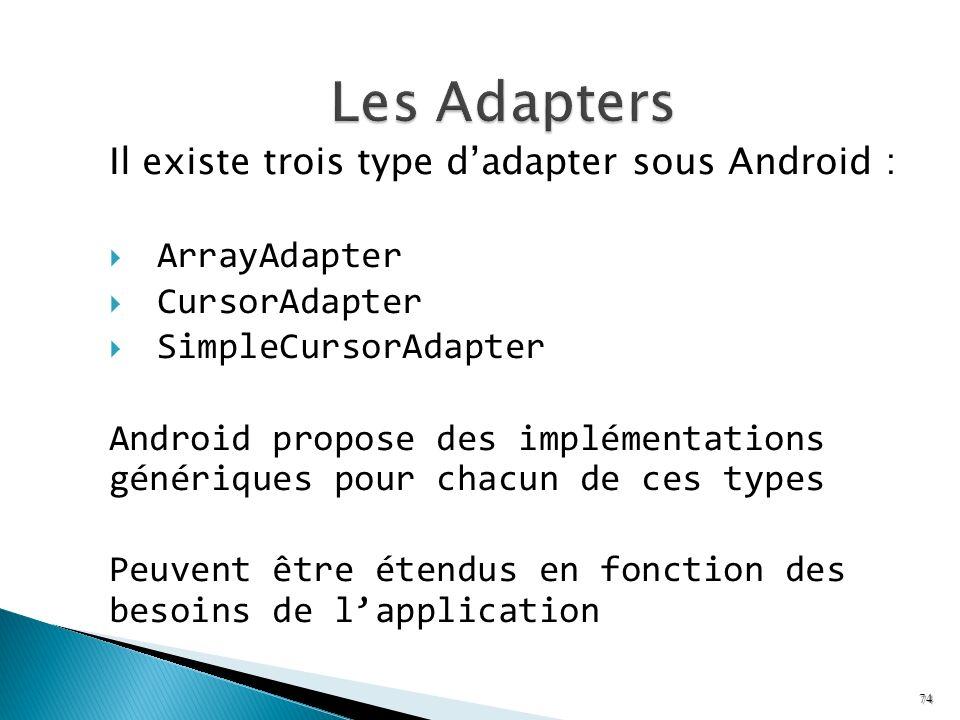 Il existe trois type dadapter sous Android : ArrayAdapter CursorAdapter SimpleCursorAdapter Android propose des implémentations génériques pour chacun