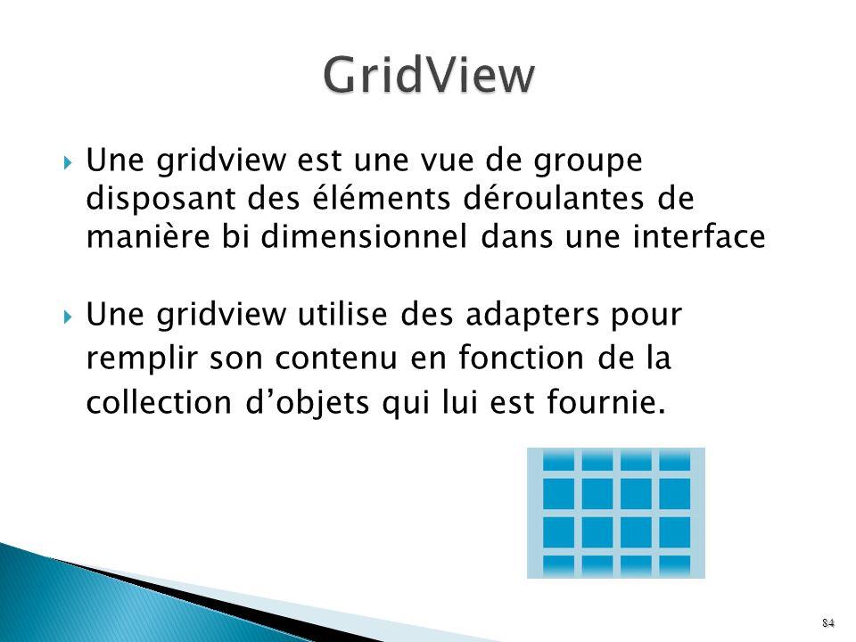 Une gridview est une vue de groupe disposant des éléments déroulantes de manière bi dimensionnel dans une interface Une gridview utilise des adapters