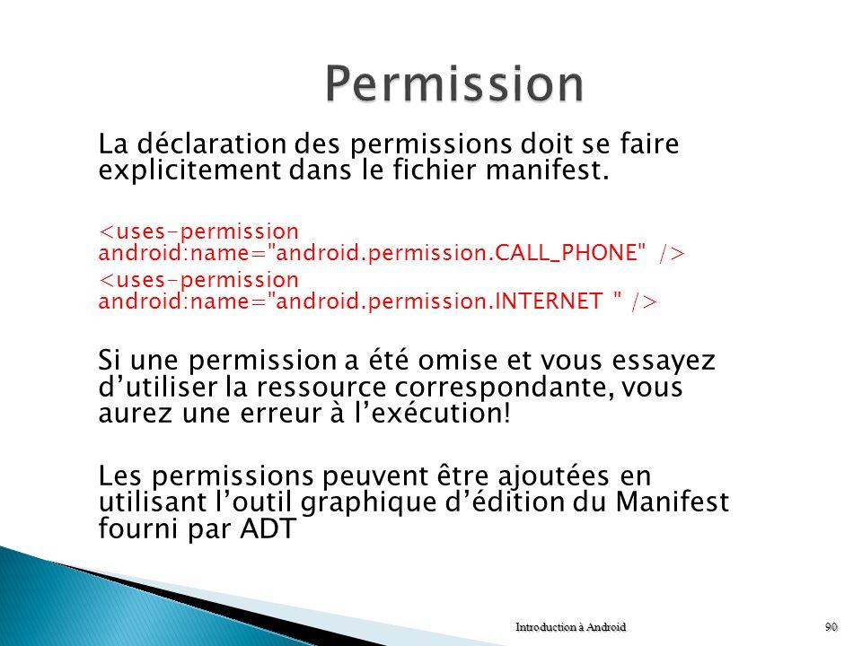 La déclaration des permissions doit se faire explicitement dans le fichier manifest. Si une permission a été omise et vous essayez dutiliser la ressou