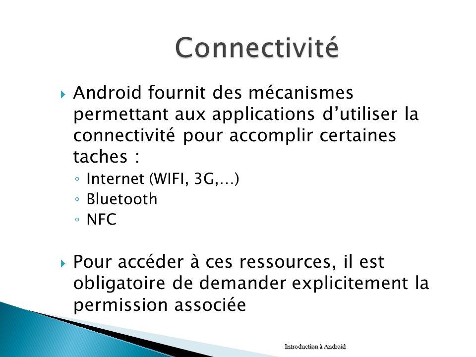 Android fournit des mécanismes permettant aux applications dutiliser la connectivité pour accomplir certaines taches : Internet (WIFI, 3G,…) Bluetooth