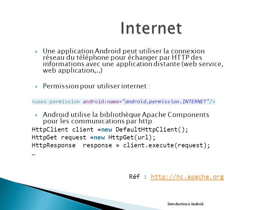 Une application Android peut utiliser la connexion réseau du téléphone pour échanger par HTTP des informations avec une application distante (web serv