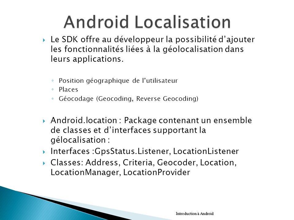 Le SDK offre au développeur la possibilité dajouter les fonctionnalités liées à la géolocalisation dans leurs applications. Position géographique de l
