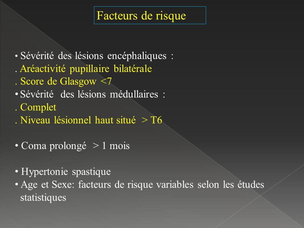Sévérité des lésions encéphaliques :.Aréactivité pupillaire bilatérale.