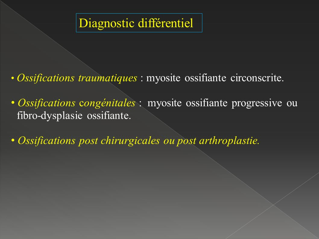 Diagnostic différentiel Ossifications traumatiques : myosite ossifiante circonscrite.