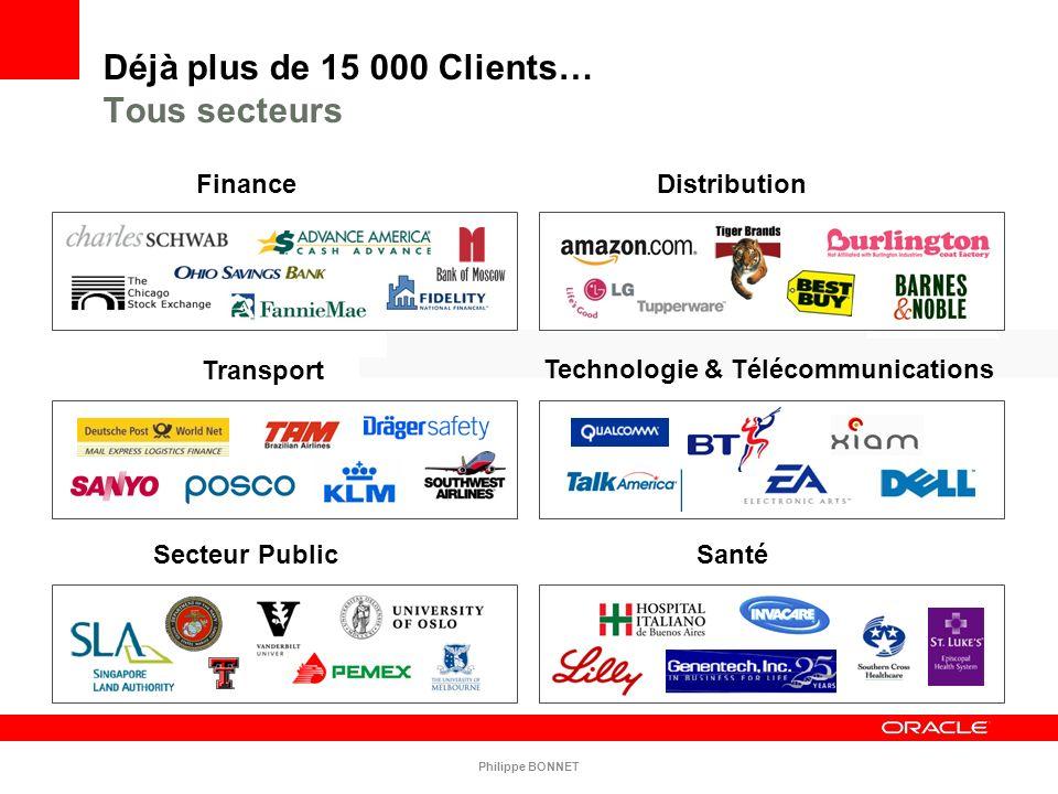 Déjà plus de 15 000 Clients… Tous secteurs Transport Finance Secteur Public Distribution Santé Technologie & Télécommunications Philippe BONNET