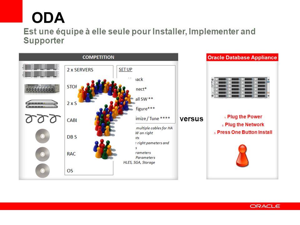 versus Est une équipe à elle seule pour Installer, Implementer and Supporter ODA