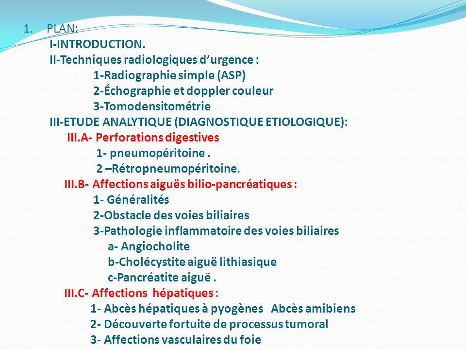 1.PLAN: I-INTRODUCTION. II-Techniques radiologiques durgence : 1-Radiographie simple (ASP) 2-Échographie et doppler couleur 3-Tomodensitométrie III-ET