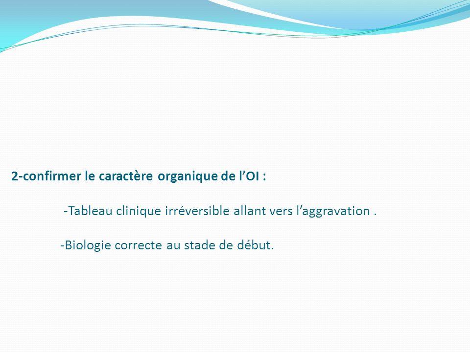 2-confirmer le caractère organique de lOI : -Tableau clinique irréversible allant vers laggravation. -Biologie correcte au stade de début.