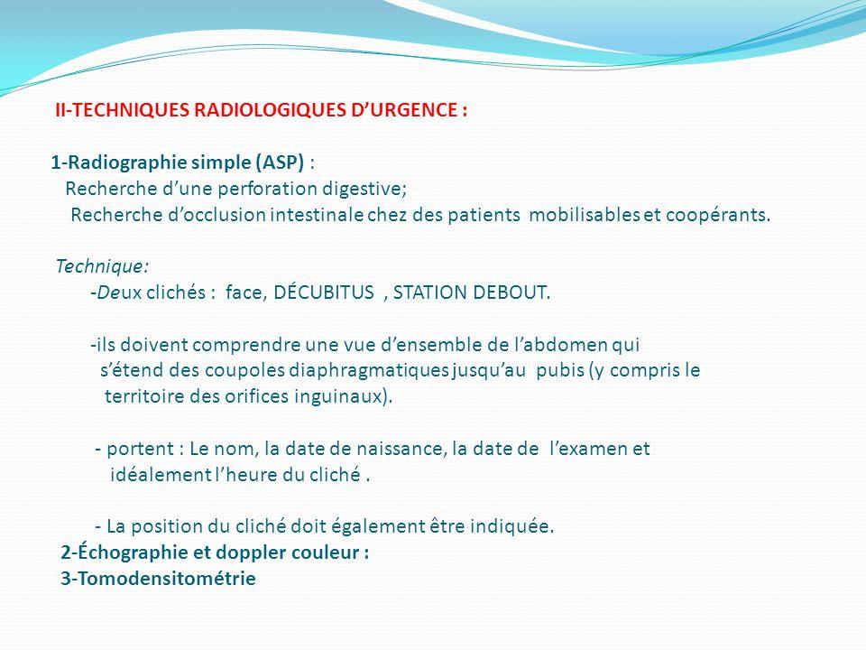 II-TECHNIQUES RADIOLOGIQUES DURGENCE : 1-Radiographie simple (ASP) : Recherche dune perforation digestive; Recherche docclusion intestinale chez des p