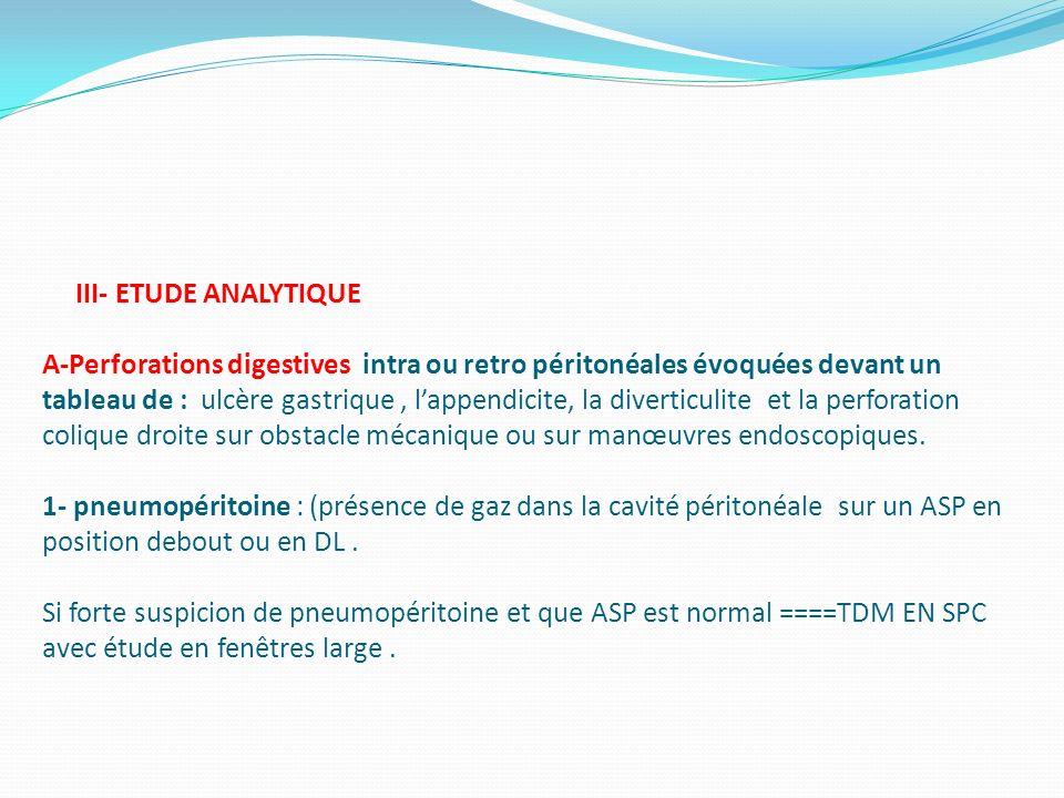 III- ETUDE ANALYTIQUE A-Perforations digestives intra ou retro péritonéales évoquées devant un tableau de : ulcère gastrique, lappendicite, la diverti