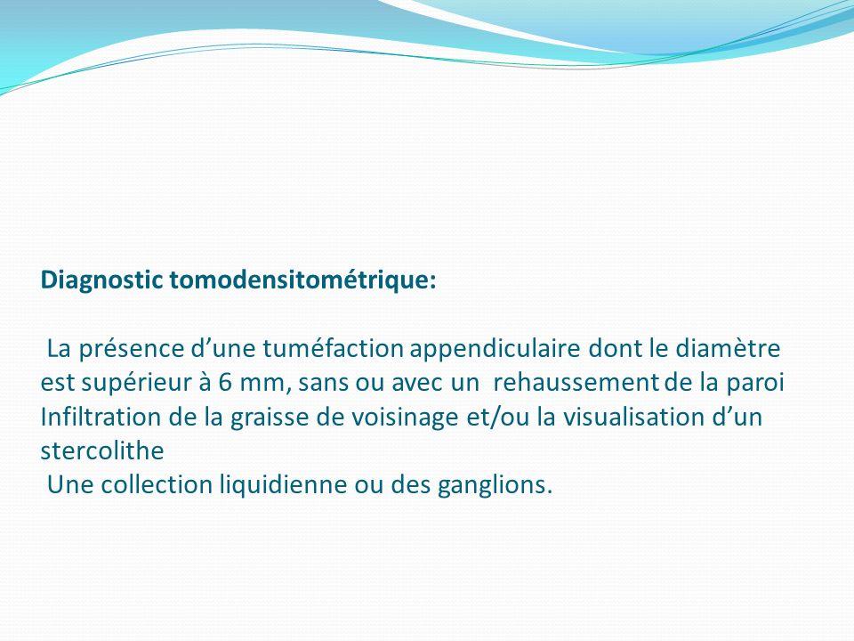 Diagnostic tomodensitométrique: La présence dune tuméfaction appendiculaire dont le diamètre est supérieur à 6 mm, sans ou avec un rehaussement de la