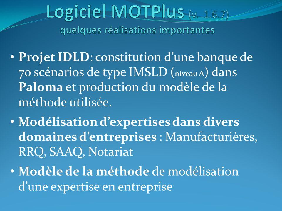Projet IDLD: constitution dune banque de 70 scénarios de type IMSLD ( niveau A ) dans Paloma et production du modèle de la méthode utilisée. Modélisat