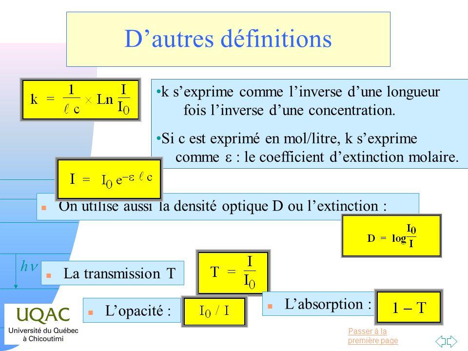 Passer à la première page v = 0 h Dautres définitions n On utilise aussi la densité optique D ou lextinction : k sexprime comme linverse dune longueur
