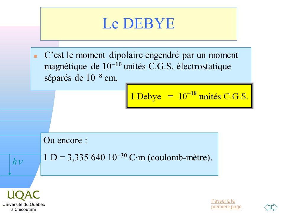 Passer à la première page v = 0 h Le DEBYE Cest le moment dipolaire engendré par un moment magnétique de 10 10 unités C.G.S. électrostatique séparés d